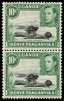 Lot 1575:1938-54 KGVI Definitives 10c black & green Lake Naivasha P13x11¾ variety Mountain retouch [Pl 7B, R 6/7] SG #135a on the upper unit of a vertical pair, fine mint, Cat £95+.