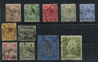 Lot 1592 [2 of 2]:1914-21 Wmk MCA ¼d to 5/- set SG #69-88, fine used, Cat £275. (12)