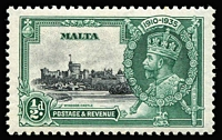 Lot 609:1935 Silver Jubilee ½d black & green variety Lightning conductor SG #210c, fine mint, Cat £40.