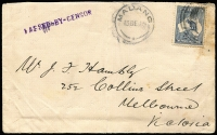 Lot 1003:1915 (Dec 13) cover (central fold) addressed to Hambly in Melbourne with 2½d Roo, paying civilian rate, tied by part Powell Type 21 Friedrich Wilhemschafen postal seal, Rated F, with Powell Type 22 Madang '13DE15' datestamp alongside, bold strike of straight-line 'PASSED-BY-CENSOR' handstamp in violet, original typed letter enclosed. [The date is later than Powell's or Loughran's LRD for use of the postal seal.] Ex Max Bulley.