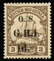Lot 1325 [2 of 2]:1915 Optd 'O.S.' & 'G.R.I.' on German New Guinea: 1d on 3pf & 1d on 5pf matched settings [Stg 3, Pos 6] SG #O1-2, fine mint, Cat £135. (2)