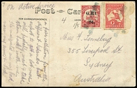 "Lot 1027:1915 PPC (Buka initiates) to Sydney endorsed ""on active service"" with combination franking of 1d Roo perf Small 'OS' (perf fault) & GRI 6mm Setting '2d.' on 10pf [Stg 1/5] each tied by watery but clearly discernible strikes of Powell Type 50 'Simpsonhafen/(Deutsch Neu-Guinea)' two-line cancel [Rated F]. Stain on message side at top right, otherwise quite fine. Extremely rare commercial combination franking."