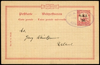 Lot 1023:1915 '2d.' on 10pf No Wmk #PS3 [Stg A] (Borek Type 9), tied by Powell Type #53 Rabaul 'JAN/28/1915' oval datestamp, addressed locally, no message, rated Rare by Gibbs. See Lot 1021.