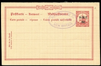 Lot 1399:1915 '2d.' on 10pf No Wmk [Stg A] reply half of Reply Card #PS5 (Borek Type 11) with Powell Type #53 Rabaul 'FEB/27/1915' oval datestamp. Gibbs records no used examples, however vendor knows of this and one other example.