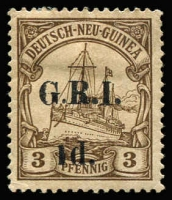 Lot 1312:1914-15 5mm Overprint Spacing on German New Guinea 1d on 3pf brown variety Short '1' in '1d' [Stg 2, Pos 4] SG #16b, mint, Cat £325.