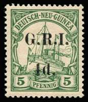 Lot 1313:1914-15 5mm Overprint Spacing on German New Guinea 1d on 5pf green [Stg 2, Pos 8] SG #17, fresh MUH, Cat £35+.
