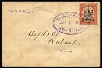 "Lot 1011:1914-15 5mm Overprint Spacing on German New Guinea '3d.' on 30pf [Stg 2/3] SG #23 tied by Powell Type 53 'RABAUL/MAY10/1915/NEW BRITAIN' oval datestamp to small local cover addressed to ""D of S & 'OS"" (Director of Supply and Ordnance Services = JP Fry), 'CENSORED.' handstamp in violet, somewhat toned."