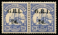 Lot 1394:1914-15 5mm Overprint Spacing on Marshall Islands 2d on 20pf pair [Stg 2, Pos 2-3] SG #53, MUH, Cat £54++.