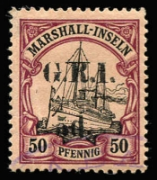 Lot 1323:1914-15 5mm Overprint Spacing on Marshall Islands 5d on 50pf [Stg 2, Pos 4] SG #57, corner thin top left & mild gum creasing, part Rabaul datestamp, Cat £375. Scarce.