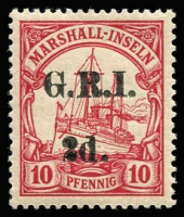 Lot 1392 [2 of 3]:1914-15 5mm Overprint Spacing on Marshall Islands 1d on 5pf [Stg 2, Pos 3], 2d on 10pf [Stg 2, Pos 6] & 2d on 20pg [Stg 2, Pos 9] SG #51-53, all fine MLH, Cat £134. (3)