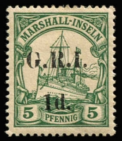 Lot 1392 [3 of 3]:1914-15 5mm Overprint Spacing on Marshall Islands 1d on 5pf [Stg 2, Pos 3], 2d on 10pf [Stg 2, Pos 6] & 2d on 20pg [Stg 2, Pos 9] SG #51-53, all fine MLH, Cat £134. (3)