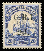Lot 1392 [1 of 3]:1914-15 5mm Overprint Spacing on Marshall Islands 1d on 5pf [Stg 2, Pos 3], 2d on 10pf [Stg 2, Pos 6] & 2d on 20pg [Stg 2, Pos 9] SG #51-53, all fine MLH, Cat £134. (3)