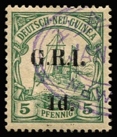 Lot 1304:1914-15 6mm Overprint Spacing on German New Guinea 1d on 5pf green [Stg 1, Pos 2] SG #2, fine used, Cat £110.
