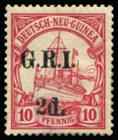 Lot 669:1914-15 6mm Overprint Spacing on German New Guinea 2d on 10pf carmine [Stg 1, Pos 9] SG #3, fine mint, Cat £90.