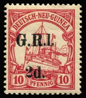 Lot 1306:1914-15 6mm Overprint Spacing on German New Guinea 2d on 10pf carmine, variety '1' for 'I' [Stg 1, Pos 10] SG #3a, trivial perf thin, MUH, Cat £400.