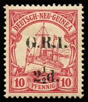 Lot 1307:1914-15 6mm Overprint Spacing on German New Guinea 2½d on 10pf carmine [Stg 4, Pos 4] SG #5, MUH, Cat £95.