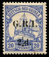 Lot 1308:1914-15 6mm Overprint Spacing on German New Guinea 2½d on 20pf ultramarine [Stg 4, Pos 9] SG #6, tiny surface mark at base, MUH, Cat £110.