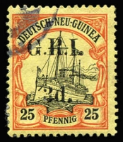 Lot 1309:1914-15 6mm Overprint Spacing on German New Guinea 3d on 25pf black & red/yellow [Stg 1, Pos 2] SG #7, fine used, Cat £450.