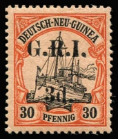 Lot 1310:1914-15 6mm Overprint Spacing on German New Guinea 3d on 30pf black & orange/buff [Stg 1, Pos 6] SG #8, expertised on reverse, MVLH, Cat £475.