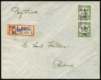Lot 1005:1914-15 6mm Overprint Spacing on German New Guinea '1d.' on 5pf [Stg 1/5] SG #2 vertical pair cancelled with Powell Type 49b '*RABAUL*/*OCT 17 1914*' two-line FDI cancel on local Carl Weller cover, with surcharged registration label 'Rabaul/(Deutsch Neuguinea)' [Stg 2] SG #33 cancelled with Powell Type 51 'Rabaul' straight-line handstamp in violet, stamps alone Cat £555++.