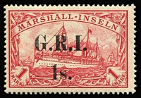 Lot 1324:1914 Surcharges on Marshall Islands 1s on 1m carmine 'G.R.I.' and value 3½-4mm apart, SG #59, from Setting 3 [3], fine rich colour, superb mint, Cat £4,000. Signed by Peter Holcombe.