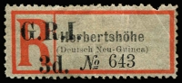 Lot 1318:1915 'G.R.I. 3d' On Registration Labels 'Herbertshöhe' in sans-serif letters on Deutsch Neu-Guinea label [Stg A3] SG #36e, some nibbed/pulled perfs, mild crease, with gum and scarce thus, Cat £500.