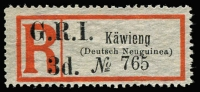 Lot 1319:1915 'G.R.I. 3d' On Registration Labels 'Käwieng' in seriffed letters on Deutsch Neuguinea label [Stg A1] SG #42, fine unused, Cat £250.
