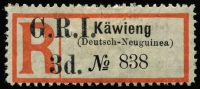Lot 1012:1915 'G.R.I. 3d' On Registration Labels Kawieng in san-serif letters on Deutsch-Neuguinea label SG #37, mint, under catalogued at £1,000. Very few known.
