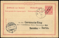 "Lot 1382 [3 of 5]:1900-08 Used Selection comprising [1] 1900 use of Overprints 10pf H&G #P2 from Matupi to Frankfurt endorsed ""via Samoa""; [2] 1900 use of Overprints 10pf+10pf #P4 from Matupi to Berlin, unused reply card attached; [3] 1908 use of 10pf Yacht #P9 from Herbertshohe to Aarau, Switzerland, message on reverse; [4] use of 10pf Yacht #P9 from Kaewieng to Frankfurt, dateline indistinct; fine condition, nice group. (4)"