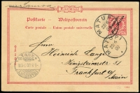 "Lot 1382 [1 of 5]:1900-08 Used Selection comprising [1] 1900 use of Overprints 10pf H&G #P2 from Matupi to Frankfurt endorsed ""via Samoa""; [2] 1900 use of Overprints 10pf+10pf #P4 from Matupi to Berlin, unused reply card attached; [3] 1908 use of 10pf Yacht #P9 from Herbertshohe to Aarau, Switzerland, message on reverse; [4] use of 10pf Yacht #P9 from Kaewieng to Frankfurt, dateline indistinct; fine condition, nice group. (4)"