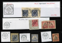 Lot 1000 [2 of 3]:Ship Mail Cancels Selection: with Seepost cancels [1] Overprints 5pf pair 10pf & 20pf tied to piece by Friedemann Type SP1 datestamp; [2] Overprints 20pf x2 tied to piece by Type SP1I datestamp (dateline inverted), [3] Overprints 10pf single & yachts 10pf pair on separate pieces tied bt Type SP2 datestamps; [4] Overprints 20pf tied to piece by Type SP3 cancel (scarce); [5] 20pf Yachts cancelled by Type SP6 Jaluit Line datestamp (scarce); [6] 30pf Yachts cancelled by Type SP8 datestamp; also Marine Schiffspost type [7] 5pf Yacht tied to piece by SP No 7 (SMS Mowe); [8] 5pf Yacht tied to piece by SP No 8 (SMS Comaran); [9] 20pf Yacht tied to piece by SP No 60 (SMS Condor), [10] unidentified SP cancel tying 10pf yacht pair to piece; plus [11] 20pf yacht with part strike of rare Damfer Willehad mail bag seal. Good lot. (11 items)