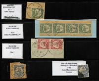 Lot 1000 [3 of 3]:Ship Mail Cancels Selection: with Seepost cancels [1] Overprints 5pf pair 10pf & 20pf tied to piece by Friedemann Type SP1 datestamp; [2] Overprints 20pf x2 tied to piece by Type SP1I datestamp (dateline inverted), [3] Overprints 10pf single & yachts 10pf pair on separate pieces tied bt Type SP2 datestamps; [4] Overprints 20pf tied to piece by Type SP3 cancel (scarce); [5] 20pf Yachts cancelled by Type SP6 Jaluit Line datestamp (scarce); [6] 30pf Yachts cancelled by Type SP8 datestamp; also Marine Schiffspost type [7] 5pf Yacht tied to piece by SP No 7 (SMS Mowe); [8] 5pf Yacht tied to piece by SP No 8 (SMS Comaran); [9] 20pf Yacht tied to piece by SP No 60 (SMS Condor), [10] unidentified SP cancel tying 10pf yacht pair to piece; plus [11] 20pf yacht with part strike of rare Damfer Willehad mail bag seal. Good lot. (11 items)
