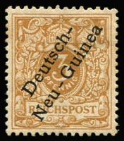 Lot 1377 [1 of 2]:1897 Overprints on Germany 3pf to 80pf set Mi #1-6, plus scarce shades 3pf pale ochre-brown & 5pf pale ochre Mi #1b & 1e, also listed shades of 10pf (one without gum) & 25pf and unlisted shades 5pf, 20pf & 50pf (one with rounded corner & thin), fine mint, MVLH or MUH, Cat €750+ (ex thinned 50pf). (13)