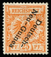 Lot 1378:1897 Overprints on Germany 25pf dark orange variety Overprint inverted Mi #5bK, fine mint. Rare, only one sheet printed with this overprint error. Cat €2,800. Bothe guarantee handstamp.
