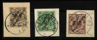 Lot 994 [2 of 2]:1897 Overprints on Germany Varieties comprising [1] 3pf Break in scroll in lower right Mi #1I; overprint varieties [2] 5pf Deformed 'c' in 'Deutsch' Mi #2XII; [3] 50pf Thin leg of 'h' in Deutsch Mi #6XI, Steuer Certificate (2008); & [4] 50pf Cut in 'e' of 'Guinea' Mi 6XIII; all tied to separate pieces by Stephansort or Matupi datestamps, very fine. (4)