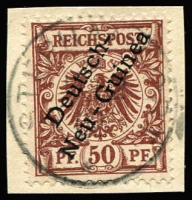 Lot 994 [1 of 2]:1897 Overprints on Germany Varieties comprising [1] 3pf Break in scroll in lower right Mi #1I; overprint varieties [2] 5pf Deformed 'c' in 'Deutsch' Mi #2XII; [3] 50pf Thin leg of 'h' in Deutsch Mi #6XI, Steuer Certificate (2008); & [4] 50pf Cut in 'e' of 'Guinea' Mi 6XIII; all tied to separate pieces by Stephansort or Matupi datestamps, very fine. (4)