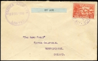 Lot 1182:1930 Wau-Rabaul (Sep 30) Aero Field cover addressed to England with 1½d Huts tied by Powell Type 116 Wau datestamp in violet Rated C, fine strike of circular Guinea Airways cachet in violet, AAMC #P25, very fine, Cat $325.