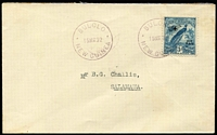 Lot 1184:1932 Bulolo-Salamaua (Mar 15) with 3d Dated Bird Airmail tied by Powell Type 120 Bulolo datestamp in violet, another fine strike alongside, Powell Type 107 Salamaua backstamp AAMC #P42, fine condition, just 25 flown, Cat $250.