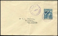 Lot 1183:1932 Lae-Salamaua (Mar 1) cover with 3d Dated Bird Airmail tied by Powell Type #119 Lae datestamp with another fine strike alongside, Powell Type 107 Salamaua backstamp AAMC #P41, central fold well clear of stamp, fine overall, Cat $225.