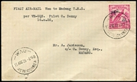 Lot 1185:1935 Wau-Madang (Aug 15) flight cover piloted by Orme Denny with 3½d Undated Bird Air tied by Powell Type 117 Wau datestamp, Madang backstamp AAMC #P84, fine condition, Cat $225.