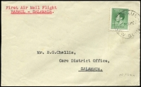 Lot 1186:1938 Rabaul-Salamaua (Mar 18) flight cover with 5d Coronation tied by Powell Type 107 Rabaul datestamp, Salamaua backstamp (Powell Type 107) AAMC #P128, Cat $80.