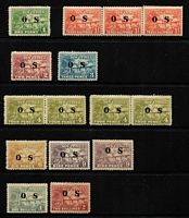 Lot 1058 [2 of 3]:1925-31 Huts Optd 'OS': 1d to 2/- set SG #O22-30, few pairs including 6d bistre, 1½d strip of 3, plus 1½d complete sheet of 30 (perf separations & rejoined section), some stamps with dulled gum, generally fine MLH/MVLH or MUH, Cat £280+. (47)