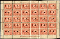 Lot 1058 [3 of 3]:1925-31 Huts Optd 'OS': 1d to 2/- set SG #O22-30, few pairs including 6d bistre, 1½d strip of 3, plus 1½d complete sheet of 30 (perf separations & rejoined section), some stamps with dulled gum, generally fine MLH/MVLH or MUH, Cat £280+. (47)