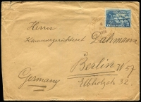 "Lot 1060:1926 (Aug 4) commercial cover from Vunapope Mission to Germany with 3d Huts tied by very fine strike of Powell Type 15 'POST OFFICE/4/AUG/1926/* ""P.O. KOKOPO"" * ' datestamp in violet Rated C, cover with small edge faults. This cancel usually seen on NWPI issues."