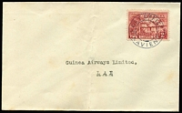 Lot 1068:1932(C.) Guinea Airways (imprint on flap) cover to Lae with 2/- Huts tied Powell  Type 41 'POST OFFICE/KAVIENG' cancel, Rated D, central fold well clear of stamp. Remarkable usage.
