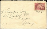 Lot 1066:1932 (Aug 10) Eastern & Australian Steamship Co (imprint on flap) cover to NSW with 2d Huts tied by Powell Type 59 Rabaul datestamp.