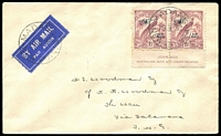 Lot 1064:1932 (July 19) early Guinea Airways airmail cover to Wau with Undated Birds Air 1½d imprint pair tied by Powell Type 23 Madang datestamp, another strike tying airmail label & backstamped. Ex Belknap.