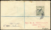 Lot 1063 [1 of 2]:1932 (May 21) Iremonger registered cover to England with 1/- Dated Birds marginal example tied by Powell Type 111 Marienberg datestamp Rated C, rubber registration cachet, Rabaul & Sydney transit backstamps. Extremely scarce.