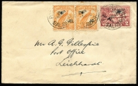 Lot 1067:1932 (Dec 1) commercial cover to NSW with ½d Undated Birds Air pair & 2d Huts Air tied by Powell Type 108 'POST OFFICE/SALAMAUA' datestamps.