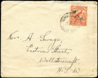 Lot 1164:1933 (Sep 28) commercial cover to NSW with 2d Undated Birds Airmail tied by Powell Type 77 Namatanai datestamp (bit slurred), Rated C, cover small edge faults.